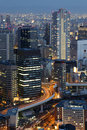 Osaka japan skyline city and downtown skyscrapers illuminated at night Stock Photos