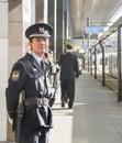 Osaka - 2010: Japanese officer in a train station