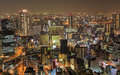 Osaka by night at japan view from umeda sky building photo taken on april Stock Image