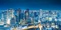 Osaka Night View from Umeda Sky Building in Kita Ward, Osaka, Japan. Royalty Free Stock Photo