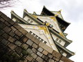 Osaka palace roof and sky Stock Image