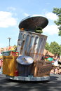 Oscar the grouch in trash can shot of during sesame street parade Royalty Free Stock Images