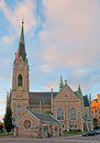The oscar s church stockholm sweden october oscarskyrkan built in gothic revival style looks unusual in last before sunset sun Royalty Free Stock Images