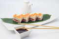Oshi sushi with salmon isolated on white dish bamboo list Royalty Free Stock Photo