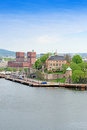 Oslo and Akershus from the sea Oslo Norway Royalty Free Stock Photo