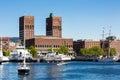 Oslo harbor and City Hall Royalty Free Stock Photo