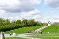 Oslo vigeland park with tourists norway september statues in in norway on september the covers acres and features bronze and Stock Image
