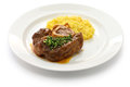 Ossobuco alla milanese italian cuisine is a specialty of cross cut veal shanks braised with vegetables Royalty Free Stock Image