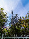 Ostankino television tower behind the trees and fence in moscow russia photo taken in september of russian Royalty Free Stock Image