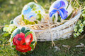 Ostrich painted eggs with flowers decoration easter and spring celebration Stock Photos