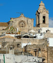 Ostuni roof tops rooftops up to the cathedral puglia Stock Photography