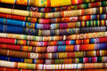 Otavalo blankets colorful for sale in market in ecuador Stock Images