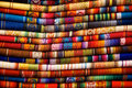 Otavalo blankets colorful for sale in the market in ecuador Stock Image