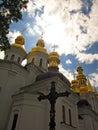 Othodox cross, Kiev Pechersk Lavra, Ukraine. UNESCO world heritage. Royalty Free Stock Photo