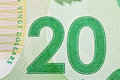 Ottawa canada avril extreme closeup of new polymer twenty dollar bills Royalty Free Stock Photo