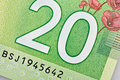 Ottawa canada avril extreme closeup of new polymer twenty dollar bills Stock Images