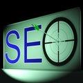 Ottimizzazione e promozione di seo target shows search engine Immagine Stock