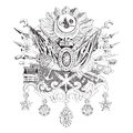 Ottoman empire hand drawn illustration of the coat of arms Stock Photo