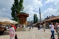 Ottoman fountain in sarajevo the sebilj the sebilj is a pseudo style wooden the centre of baščaršija square Stock Image