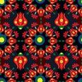 Ottoman ogee mandala tulip carnation circle seamless pattern