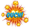 Ouch expression with cloud explosion background Stock Image