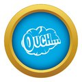 Ouch, speech cloud icon blue vector isolated