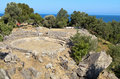 Oud hellenistic theater in Samothraki Stock Foto's