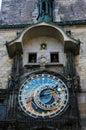 Oude klok op de toren van de stad hall old town square praha Stock Afbeelding