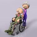 Oude mensenoudste in rolstoel Royalty-vrije Stock Afbeeldingen
