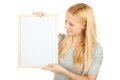 Oung happy woman with blank board Royalty Free Stock Photo
