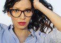 Oung woman wearing eye glasses close up photo of beautiful young reading Stock Photography