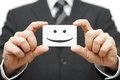 Our clients are happy clients smile on business card Royalty Free Stock Photo