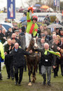Our conor winning cheltenham seen here coming pooring rain to winners enclosure Stock Photos