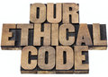 Our ethical code isolated text in letterpress wood type printing blocks Stock Photo