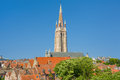 Our lady church in bruges the a sunny summer day Stock Photography