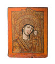 Our Lady of Kazan type of holy icon, representing the Virgin Mary and Jesus, 19th cent Royalty Free Stock Photo