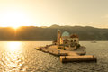 Our lady of the reef church island near perast in bay kotor montenegro Royalty Free Stock Image