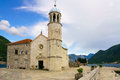 Our lady of the rocks church on an artificial island in bay kotor montenegro Stock Photo