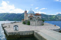 Our lady of the rocks church on an artificial island in bay kotor montenegro Stock Images