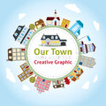 Our town with lovely house icons Stock Image