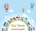 Our town with lovely house icons hot air balloon Royalty Free Stock Image