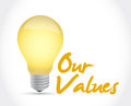 Our values ideas concept illustration design over a white background Royalty Free Stock Photography