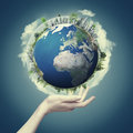 Our world in our hands abstract eco backgrounds for your design Stock Photos