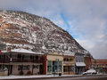 Ouray colorado january winter view of the hotel is on the background of mountains Royalty Free Stock Photography