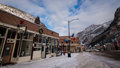 Ouray colorado january winter view of the parked cars in the city in the mountains Royalty Free Stock Image