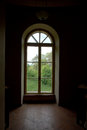 Out from darkness looking through the window a dark old room Royalty Free Stock Photos