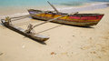 Out rigger polynesian canoe on the beach Royalty Free Stock Images