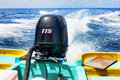 Outboard engine at work Royalty Free Stock Photo