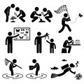 Outdoor activity geologist research stick figure p a set of people pictogram representing people doing Royalty Free Stock Photo