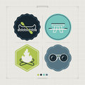Outdoor activity icons in relations to summer pictured here from left to right top to bottom canoe with paddle picnic table camp Royalty Free Stock Image
